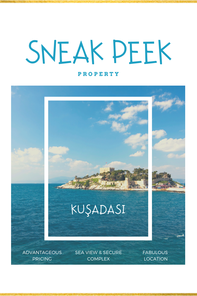 Blog banner: Picture of guvencin adası. Kusadasi pigeon island in a frame. Text overlay reads: Sneak peek property. Kusadasi. Aegean Dream Homes
