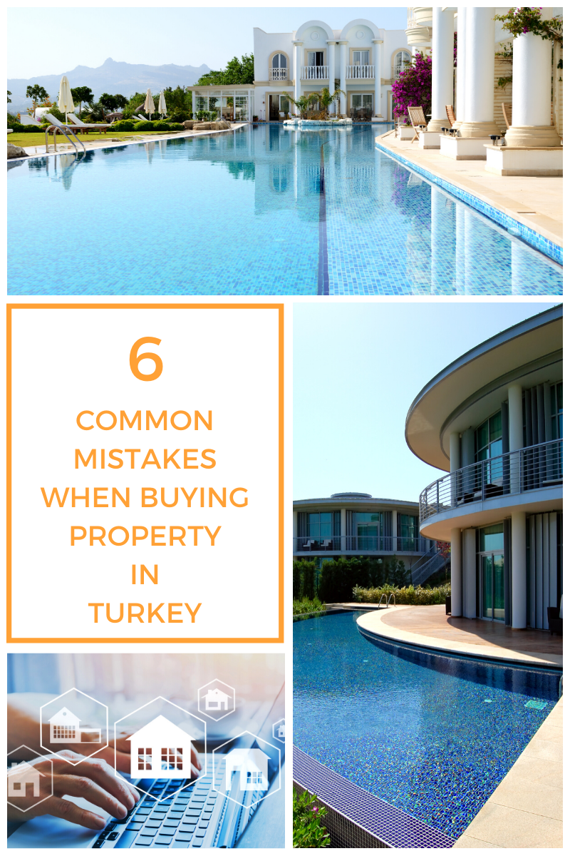 Blog banner. Pictures of villas in Turkey. Text reads: 6 Common Mistakes made when buying property in Turkey