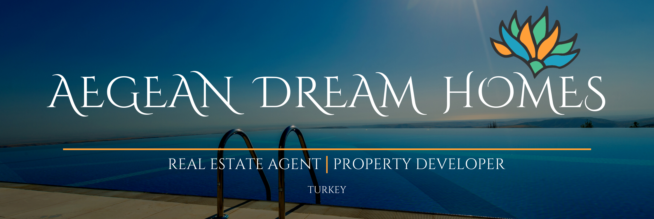 Company banner Reads: Aegean Dream Homes Real estate agent and property developer.