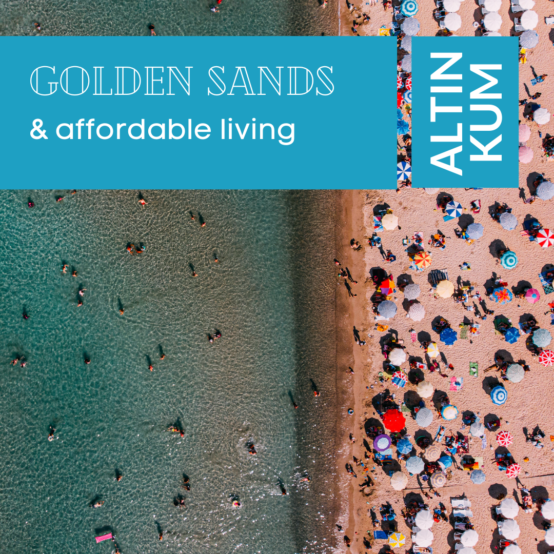 Altinkum Property For Sale Banner. Text Overlay Reads: Golden Sands & Affordable Living.