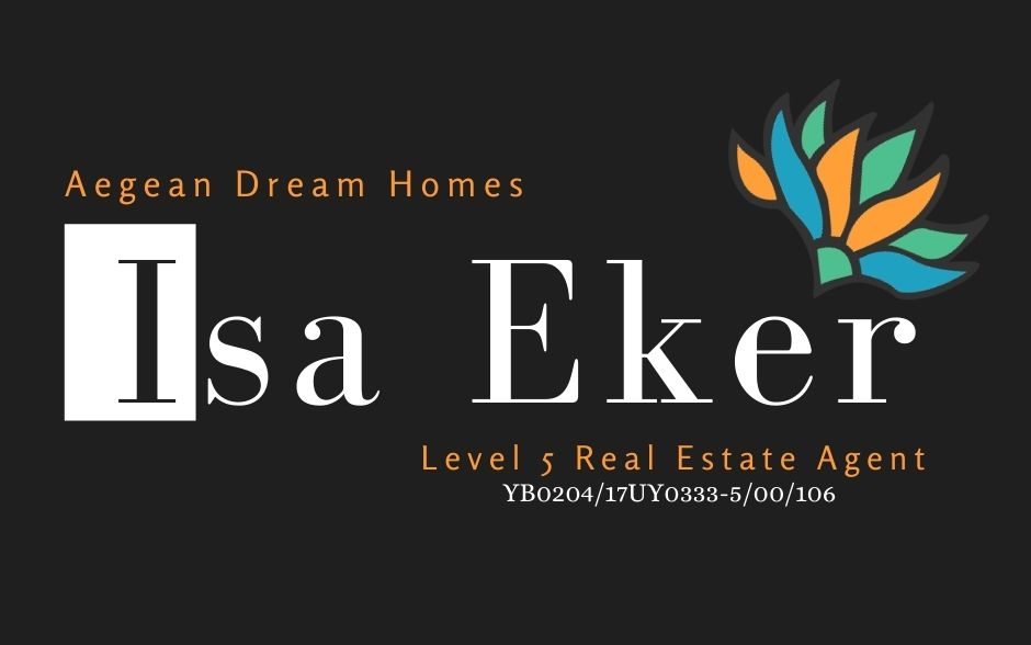 Turkish Estate Agent Business Card. Text reads: Aegean Dream Homes, Isa Eker, Level 5 Real Estate Agent and registration number