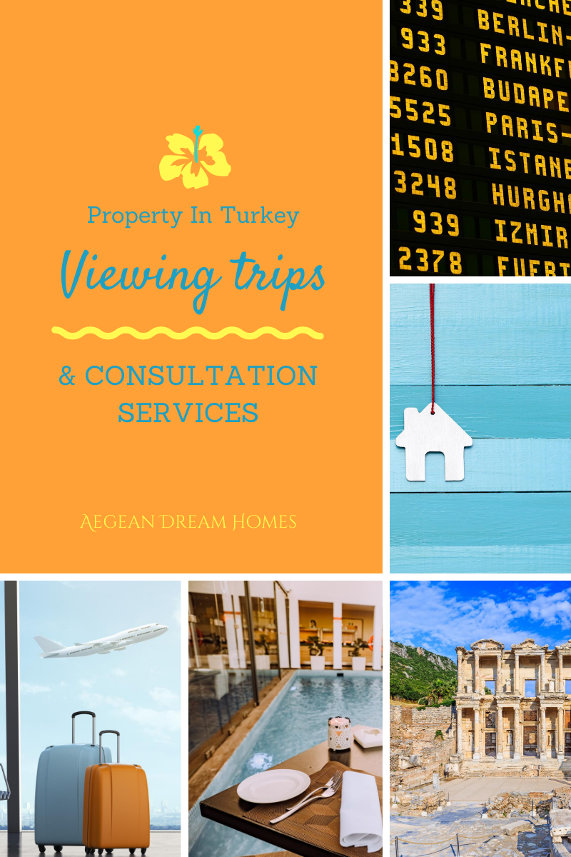 Page banner. Pictures clockwise from top: Airport departure board, House keyring on blue board, Ephuses Kusadasıi, Apartment swimming pool with dinning table, Suitcases and aeroplane. TExt overlay reads: Property In Turkey. Viewing trips & consultation services from Aegean Dream Homes.